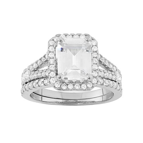 Sterling Silver Lab-Created White Sapphire Rectangle Halo Engagement Ring Set
