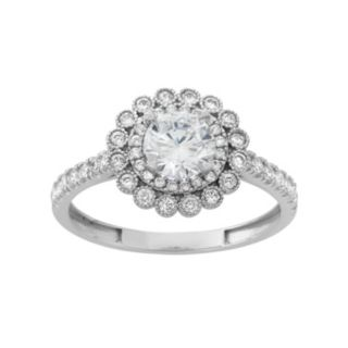 Sterling Silver Lab-Created White Sapphire Flower Engagement Ring