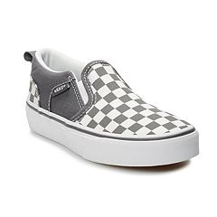 Vans Asher Boys  Checkered Skate Shoes. Black Pewter White 76f3b91e4