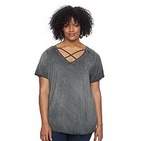 Plus Size Rock & Republic® Crisscross Embellished Tee