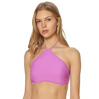 Women's Pink Envelope High-Neck Halter Bikini Top