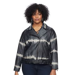 Plus Size Rock & Republic® Tie-Dye Faux-Leather Moto Jacket