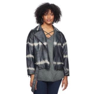 Plus Size Rock & Republic® Tie-Dye Faux-Leather Moto Jacket