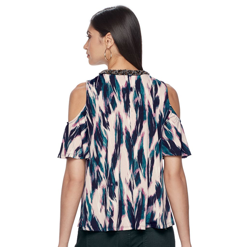 Petite Jennifer Lopez Embellished Cold-Shoulder Top