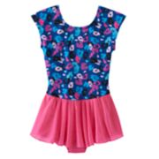 Girls 4-14 Jacques Moret Leopard Skirted Leotard