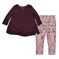 Toddler Girl Burt's Bees Baby Organic Crochet Top & Leaf Leggings Set