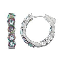 Sterling Silver Mystic Fire Topaz Inside Out Hoop Earrings