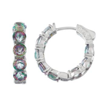 Sterling Silver Mystic Fire Topaz Inside Out Hoop Earrings