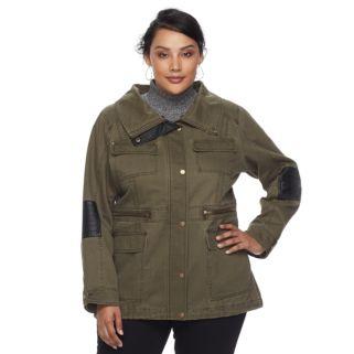 Plus Size Apt. 9® Faux Fur Faux-Leather Accent Parka