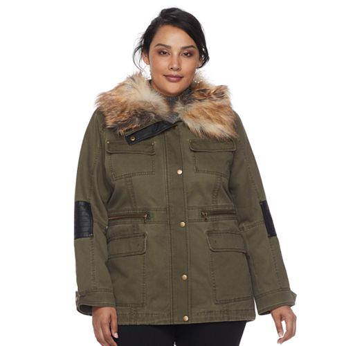 0bca0e753b4 Plus Size Apt. 9® Faux Fur Faux-Leather Accent Parka