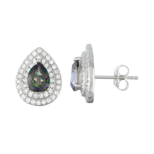 Sterling Silver Mystic Fire Topaz & Cubic Zirconia Teardrop Stud Earrings