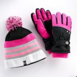 Girls 4-16 ZeroXposur Kimberly Fleece Gaiter Gloves & Fleece-Lined Hat Set