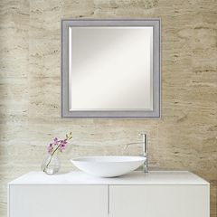 Amanti Art Medium Washed Gray Square Wall Mirror