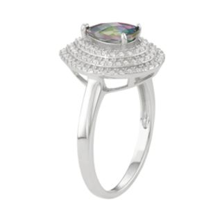 Sterling Silver Mystic Fire Topaz & Cubic Zirconia Teardrop Halo Ring