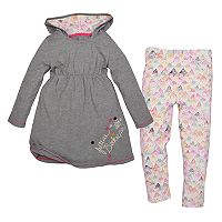 Toddler Girl Burt's Bees Baby Organic Hooded Dress & Speckled Leggings Set