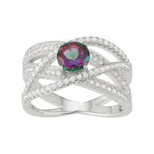 Sterling Silver Mystic Fire Topaz & Cubic Zirconia Crisscross Ring