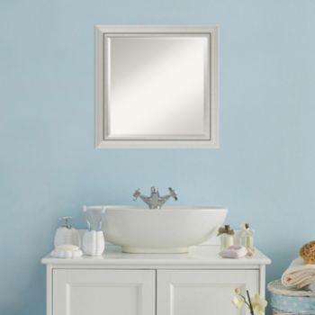 Amanti Art Romano Silver Finish Square Wall Mirror