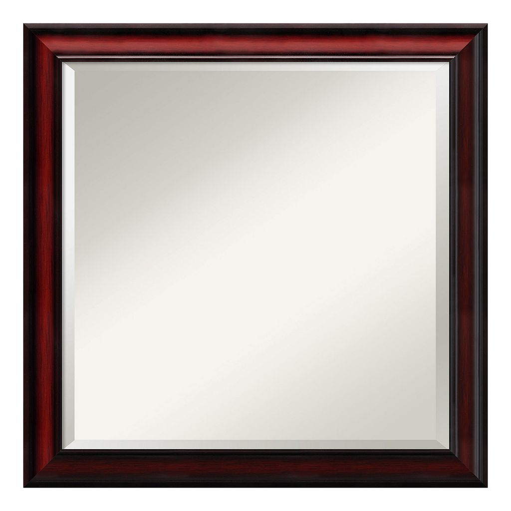 Amanti Art Rubino Cherry Finish Scoop Square Wall Mirror