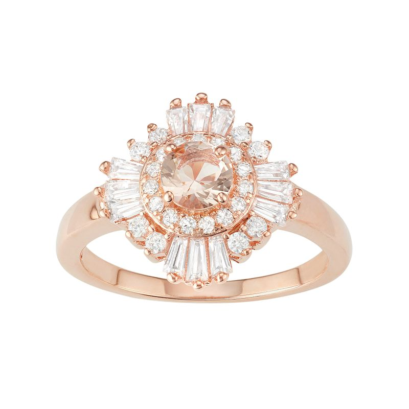 14k Rose Gold Over Silver Simulated Morganite & Cubic Zirconia Halo Ring, Women's, Size: 8, Pink