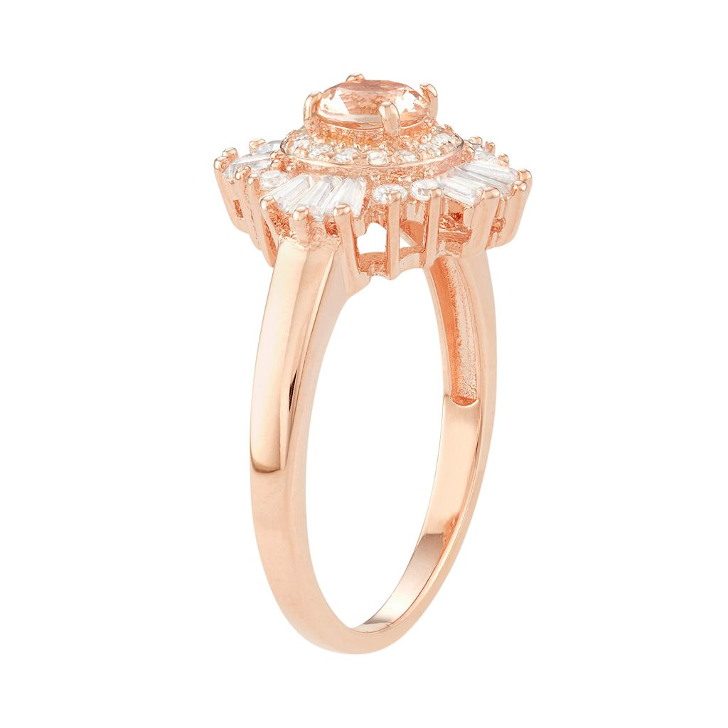 14k Rose Gold Over Silver Simulated Morganite & Cubic Zirconia Halo Ring