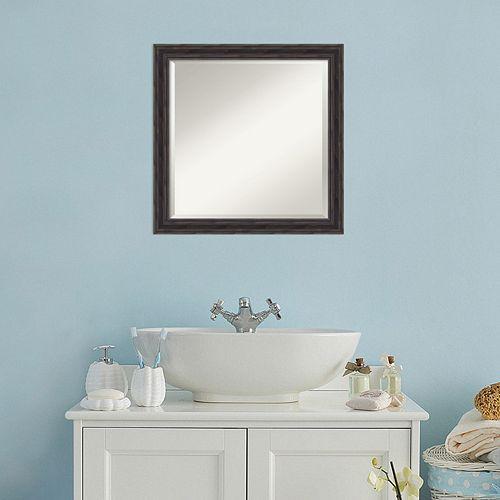 Amanti Art Square Rustic Wood Wall Mirror