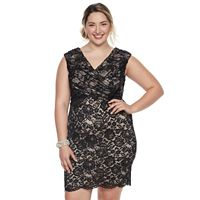 Plus Size Chaya Sequin Lace Sheath Dress