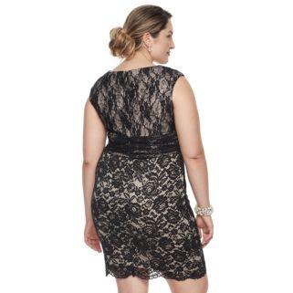 Plus Size Chaya Sequin Lace Sheath Dress