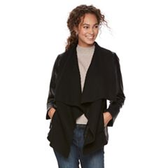 Women's Apt. 9® Faux-Leather Ribbed Sweater Jacket