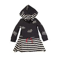 Toddler Girl Burt's Bees Baby Tree & Stripe Hooded Dress