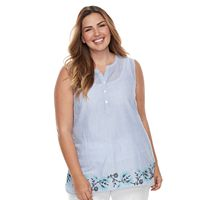 Plus Size Croft & Barrow® Striped Henley Tank