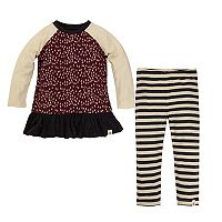 Toddler Girl Burt's Bees Baby Tree Pattern Ruffle Hem Dress & Striped Leggings Set