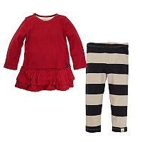 Toddler Girl Burt's Bees Baby Thermal Ruffled Skirt Dress & Striped Leggings Set