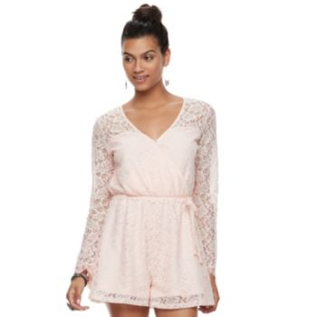 Juniors' Candie's® Embroidered Lace Romper
