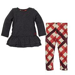 Toddler Girl Burt's Bees Baby Tiered Ruffle Hem Dress & Criss-Cross Pattern Leggings Set