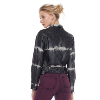 Women's Rock & Republic® Tie-Dye Moto Faux-Leather Jacket