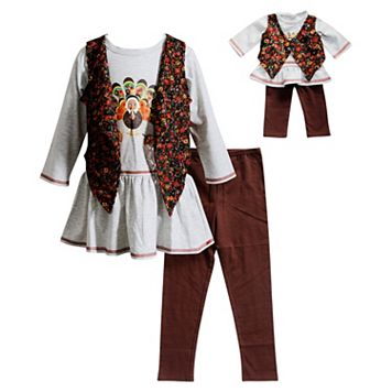 Girls 4-14 Dollie & Me Thanksgiving Tunic & Vest With Leggings Set