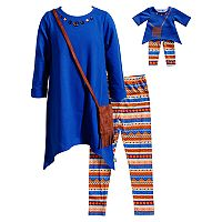 Girls 4-14 Dollie & Me Hankerchief Tunic, Fringe Purse & Leggings Set