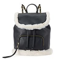 SO® Sasha Faux Fur Trim Mini Drawstring Backpack