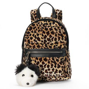 SO® Velvet Leopard Print Dog Pom Pom Mini Backpack