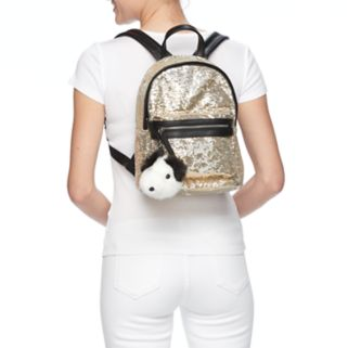SO® Tess Sequined Backpack with Dog Pom Pom