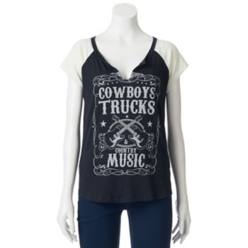 """Juniors' Recycled Karma """"Country Music"""" Graphic Tee"""