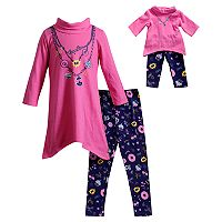 Girls 4-14 Dollie & Me Faux Necklace Dress & Leggings Set