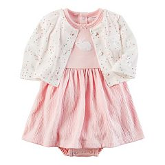 Baby Girl Carter's Bunny Dress & Heart Cardigan Set
