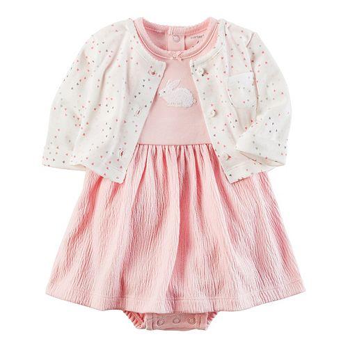 Baby Girl Carter S Bunny Dress Amp Heart Cardigan Set