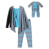 Girls 4-14 Dollie & Me Cardigan, Tank Top & Leggings Set