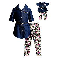 Girls 4-14 Dollie & Me Denim Dress & Printed Leggings Set