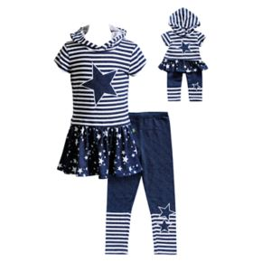 Girls 4-14 Dollie & Me Hooded Star Tunic & Leggings Set