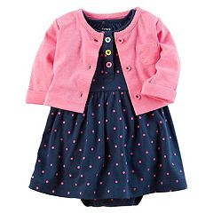 Baby Girl Carter's Polka-Dot Bodysuit Dress & French Terry Cardigan Set