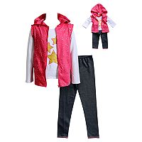 Girls 4-14 Dollie & Me Star Sleeveless Hoodie, Tee & Leggings Set