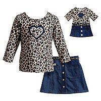 Girls 4-14 Dollie & Me Leopard Print Top, Belted Skirt & Doll Dress Set